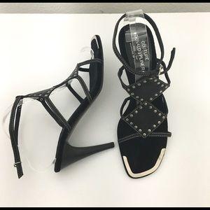 """Donald J Pliner Black Leather w/Grommets 4"""" Heels"""